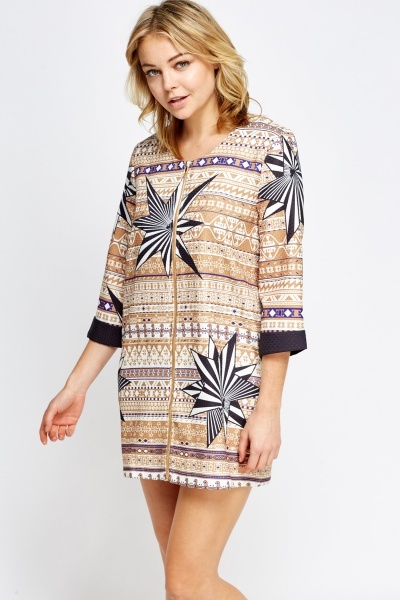 Mix Print Zip Up Dress