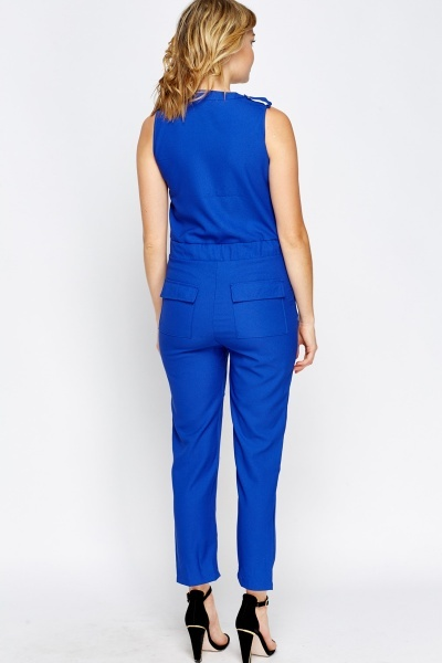 Innovative Chic And Backless Royal Blue Jumpsuit | Love Sujeiry