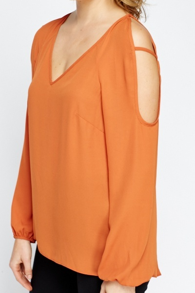 Rust Cut Out Sleeve Blouse