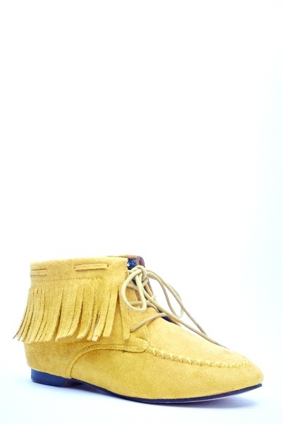 Blue Moccasin Ankle Boots