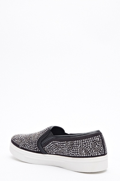 Encrusted Canvas Slip On
