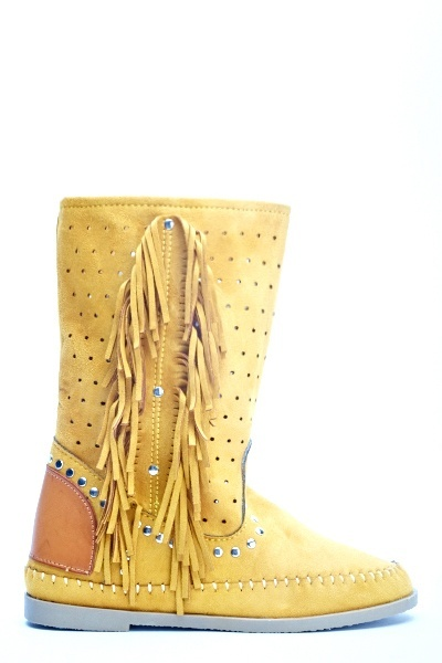 Yellow Fringe Side Boots
