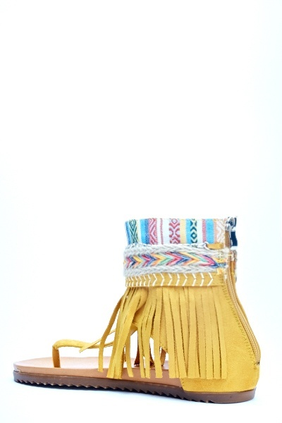 Fringed Aztec Sandals