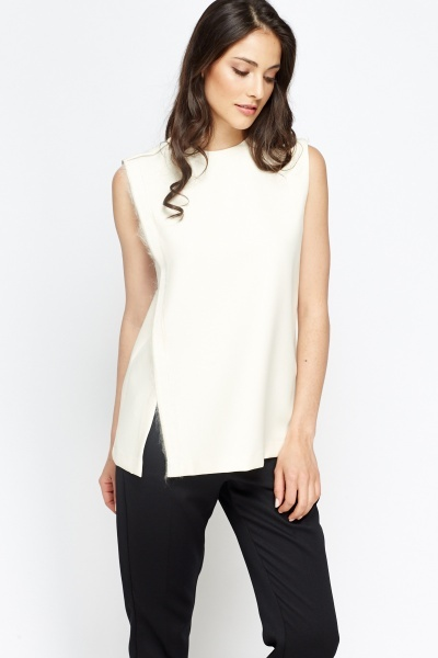 Cream Slit Side Top