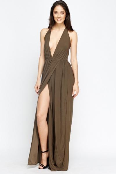 4966d74a757 Deep Plunge Olive Maxi Dress - Just £5