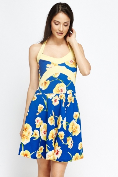 Floral Halterneck Skater Dress