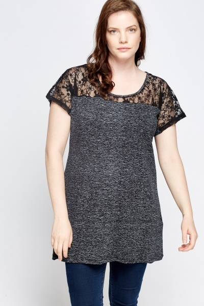 Lace Insert Speckled Top