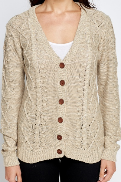 Large Button Knit Cardigan