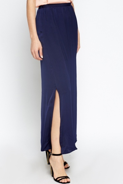 Navy Slit Side Maxi Skirt