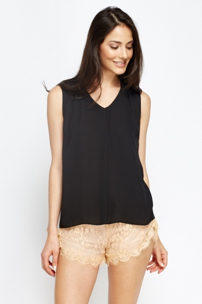Pleated Front Black Shell Top