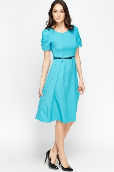 Ruched Sleeve Belted Midi Dress