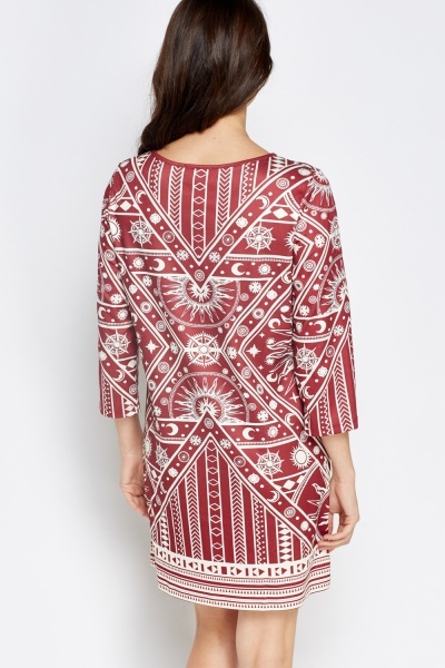 Burgundy Printed Boho Dress