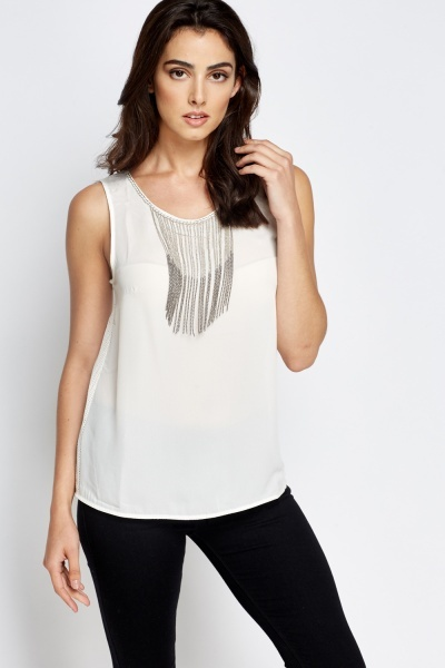 Chain Embellished Mesh Back Top