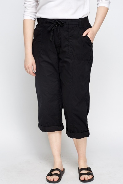 Cropped Cotton Casual Trousers