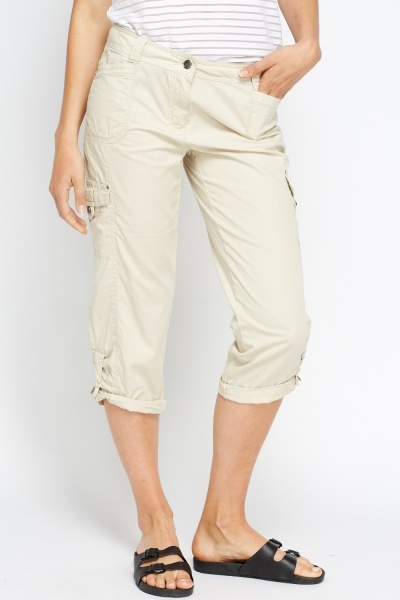 Cotton Blend Cropped Trousers
