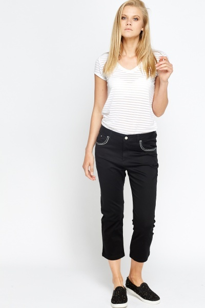 Embellished Pocket Cropped Trousers