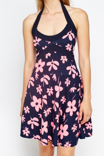 Haltarneck Navy Skater Dress