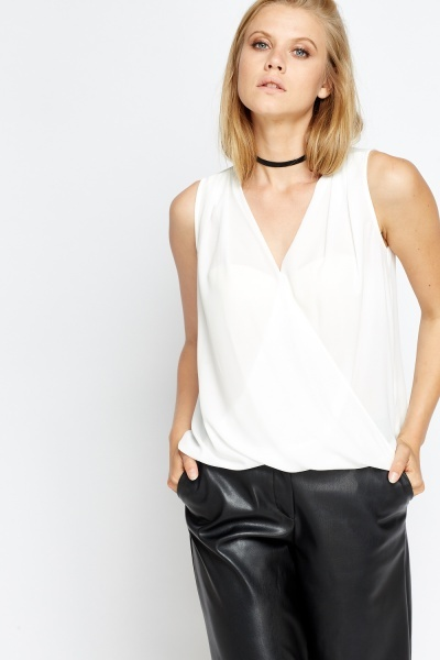 Wrap Front Sleeveless Top