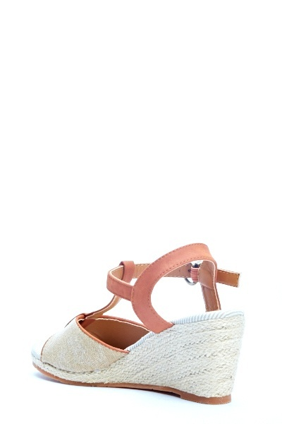 Camel T-Bar Espadrille Wedges