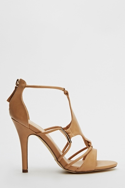 Faux Leather Strappy Ankle Heels