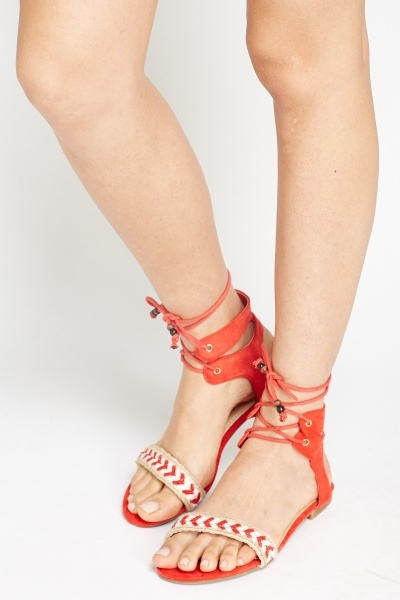 Lace Up Woven Trim Sandals