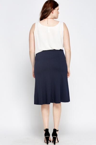 Navy Swing Midi Skirt