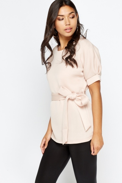 Short Sleeves Thick Tie Up Top