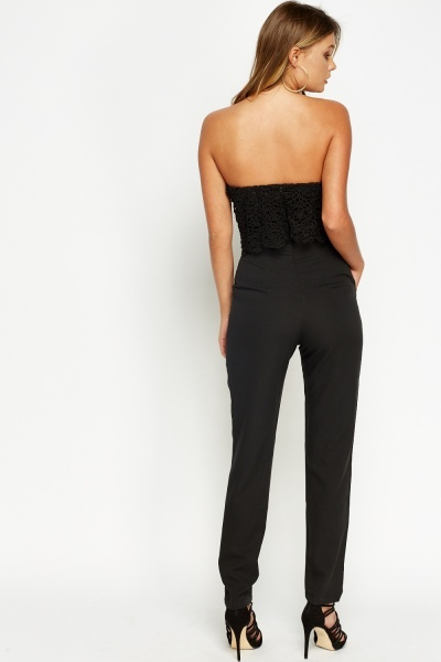 Black Crochet Overlay Jumpsuit