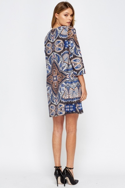 Encrusted Front Paisley Print Dress
