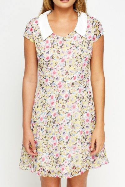 Floral Collared Skater Dress