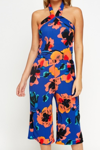 Floral Royal Blue Holtarneck Jumpsuit