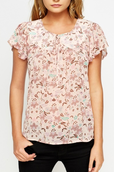 Pink Multi Leaf Print Top