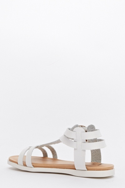 Blanc Strappy Flat Sandals
