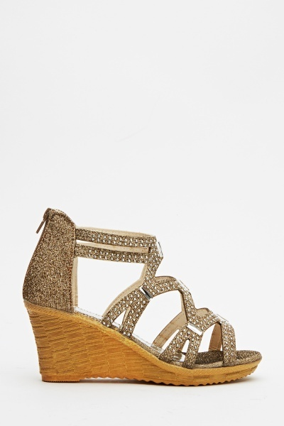 Lurex Encrusted Wedge Sandals