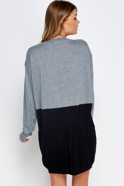 Colour Block Long Jumper Dress