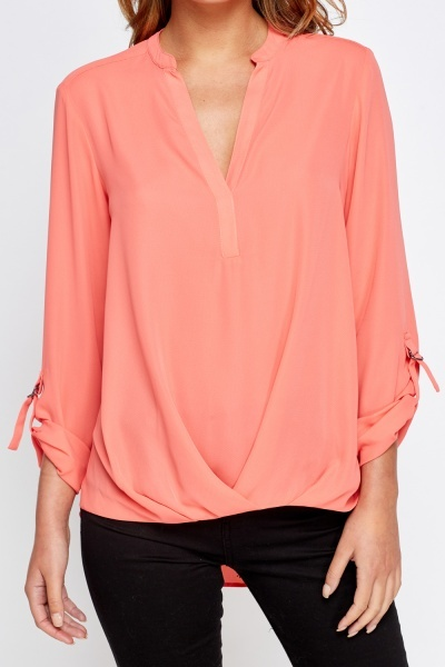 Dipped Hem Wrap Front Top