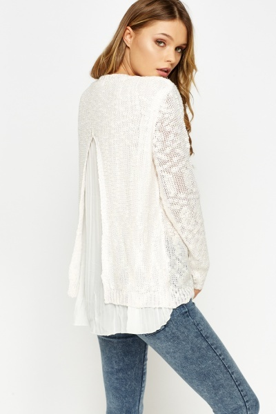 Pleated Back Speckled Jumper