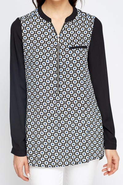Contrast Zip Neck Blouse