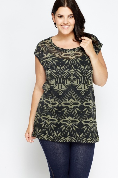 Aztec Print Shirred Top