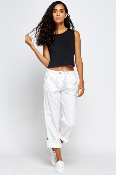 Cotton Blend Casual Trousers