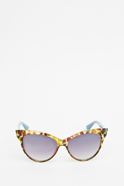 Contrast Printed Cat Eye Sunglasses
