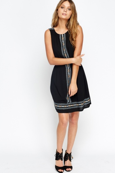 Elasticated Waist Embroidered Panel Dress