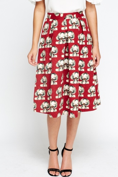 Girl Printed Midi Skater Skirt