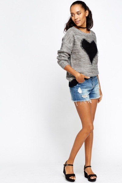 Contrast Heart Knit Jumper