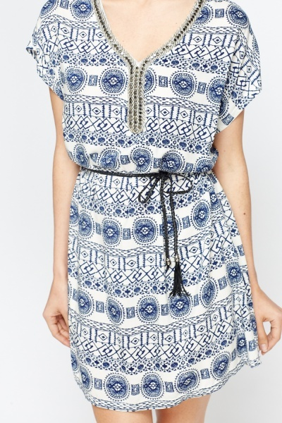 Embroidered Neck Off white Shift Dress