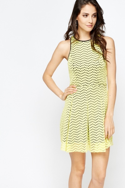 Laser Cut Out Overlay Skater Dress