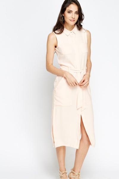 Shirt Tie Waist Midi Dress