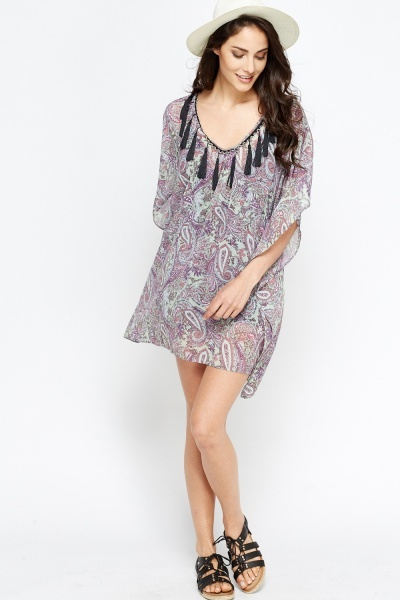 Tassel Trim Poncho Mini Dress