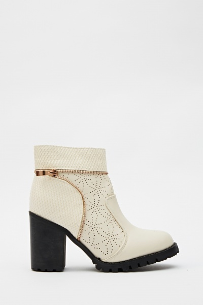 Contrast Laser Cut Insert Zip Detailed Boots