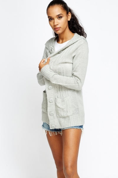 Cable Knit Hooded Jumper